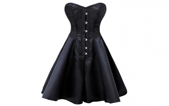 Over Bust Black Satin Corset Dress