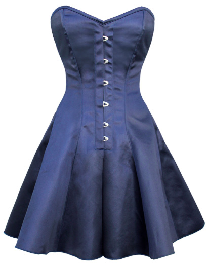 Over Bust Blue Satin Corset Dress - Steel Bones