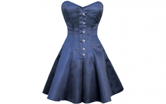Over Bust Blue Satin Corset Dress