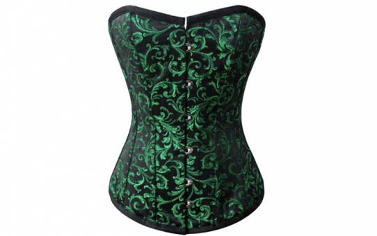 Short Line Black and Green Brocade Over bust