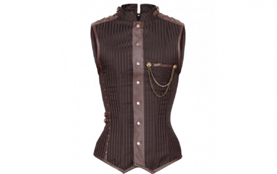 Men's Corseted Jacket Steampunk Brown Brocade Stripe