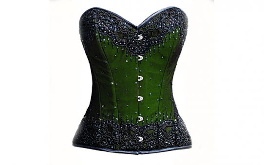 Green Hand beaded silk over bust corset with lace overlay