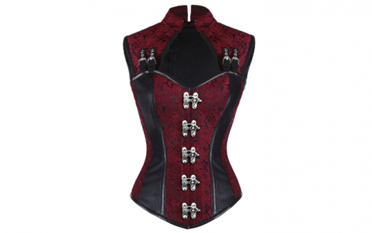 Over Bust Jacket corset Red Brocade With Black leather accents