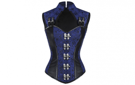 Over Bust Jacket corset Blue Brocade With Black leather accents