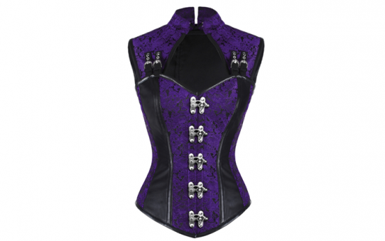 Over Bust Jacket corset Purple Brocade With Black leather accents