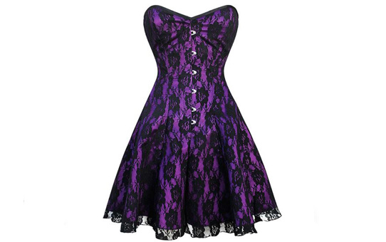 Over Bust Purple Satin Corset Dress with black lace overlay