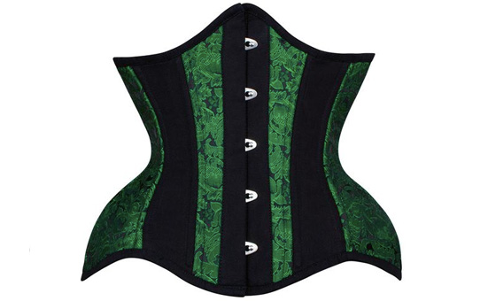 Curvy Waist Trainer Under Bust Short Line Green Brocade